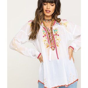 Johnny Was Embroidered Dragonfly Blouse XL
